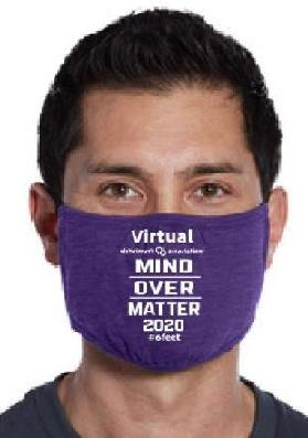 "Man wearing a mask with ""Mind Over Matter 2020"" on it"